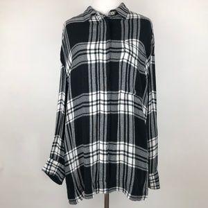 BDG UO Black and White Rayon Plaid Button Down